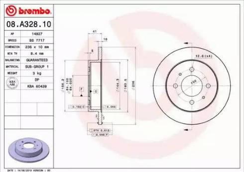 Brembo 08.A328.10 - Bremžu diski interparts.lv