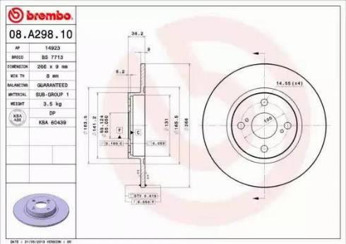 Brembo 08.A298.10 - Bremžu diski interparts.lv
