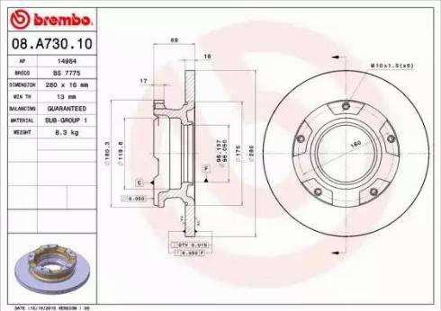 Brembo 08.A730.10 - Bremžu diski interparts.lv