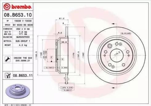 Brembo 08.B653.11 - Bremžu diski interparts.lv