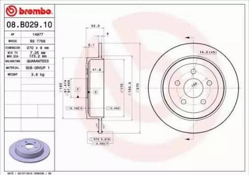 Brembo 08.B029.10 - Bremžu diski interparts.lv