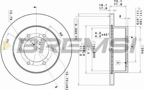 Bremsi CD6976V - Bremžu diski interparts.lv