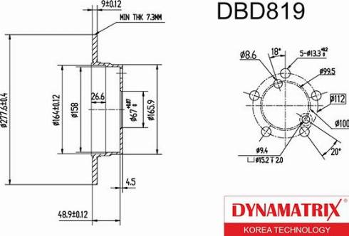 Dynamatrix DBD819 - Bremžu diski interparts.lv