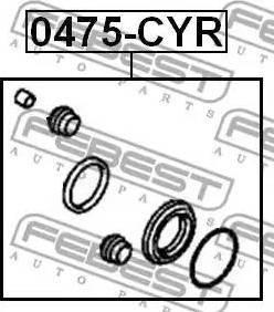 Febest 0475-CYR - Remkomplekts, Bremžu suports interparts.lv