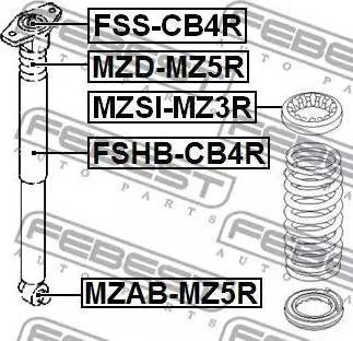 Febest MZAB-MZ5R - Bukse, Amortizators interparts.lv