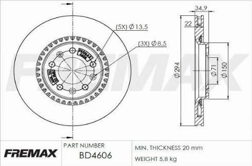 FREMAX BD-4606 - Bremžu diski interparts.lv