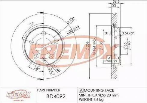 FREMAX BD-4092 - Bremžu diski interparts.lv