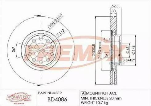 FREMAX BD-4086 - Bremžu diski interparts.lv