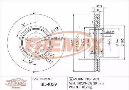 FREMAX BD-4039 - Bremžu diski interparts.lv
