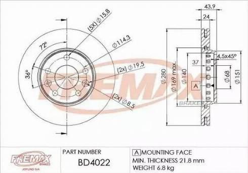 FREMAX BD-4022 - Bremžu diski interparts.lv