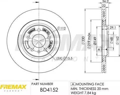 FREMAX BD-4152 - Bremžu diski interparts.lv