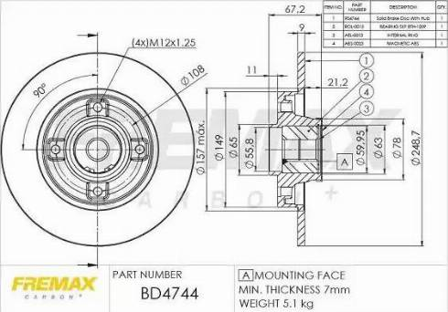 FREMAX BD-4744 - Bremžu diski interparts.lv