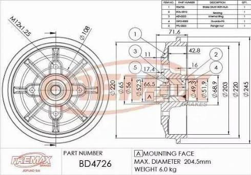 FREMAX BD-4726 - Bremžu trumulis interparts.lv