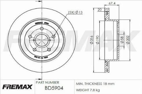 FREMAX BD-5904 - Bremžu diski interparts.lv