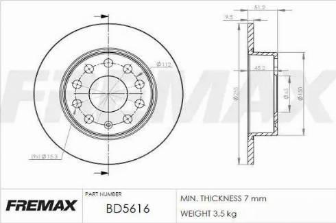 FREMAX BD-5616 - Bremžu diski interparts.lv