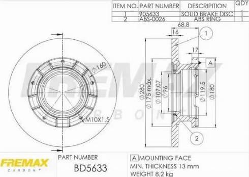 FREMAX BD-5633 - Bremžu diski interparts.lv