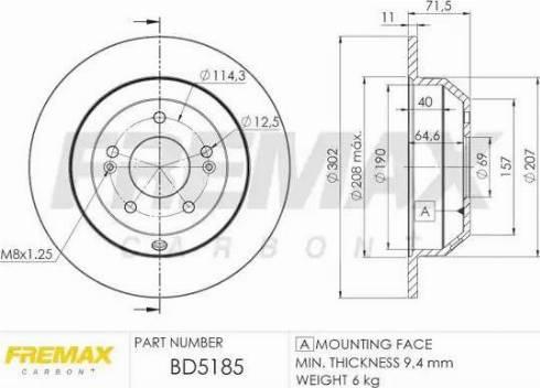 FREMAX BD-5185 - Bremžu diski interparts.lv