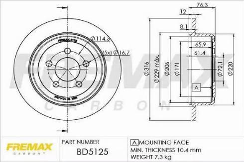 FREMAX BD-5125 - Bremžu diski interparts.lv