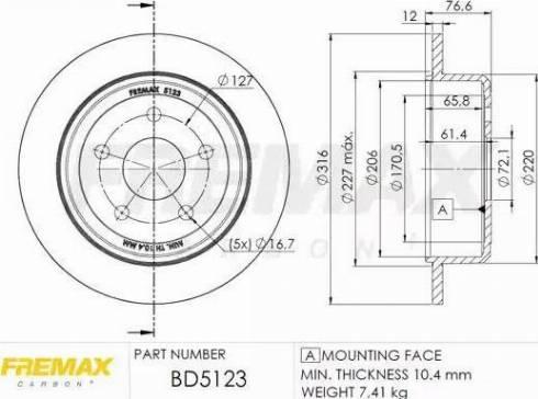 FREMAX BD-5123 - Bremžu diski interparts.lv