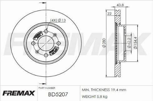 FREMAX BD-5207 - Bremžu diski interparts.lv