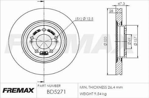 FREMAX BD-5271 - Bremžu diski interparts.lv