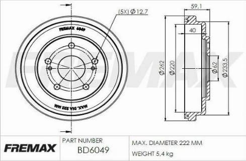 FREMAX BD-6049 - Bremžu trumulis interparts.lv