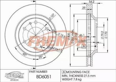FREMAX BD-6051 - Bremžu diski interparts.lv