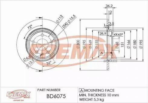FREMAX BD-6075 - Bremžu diski interparts.lv