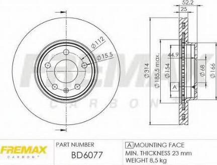 FREMAX BD-6077 - Bremžu diski interparts.lv