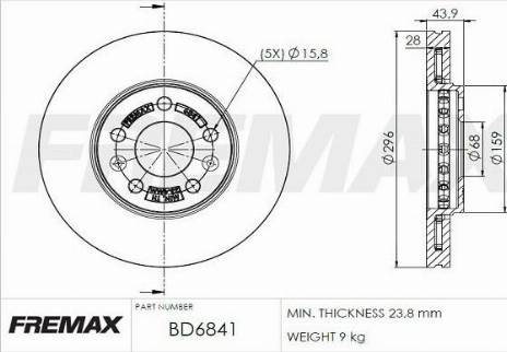 FREMAX BD-6841 - Bremžu diski interparts.lv
