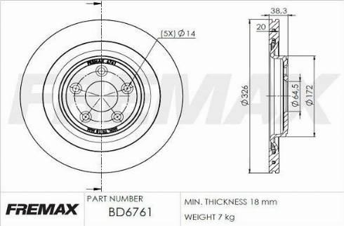 FREMAX BD-6761 - Bremžu diski interparts.lv