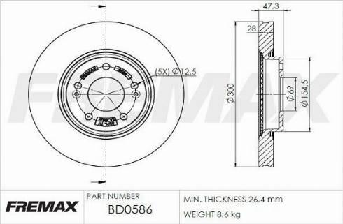 FREMAX BD-0586 - Bremžu diski interparts.lv