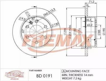 FREMAX BD-0191 - Bremžu diski interparts.lv
