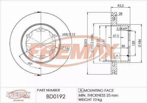 FREMAX BD-0192 - Bremžu diski interparts.lv