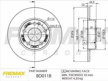FREMAX BD-0118 - Bremžu diski interparts.lv