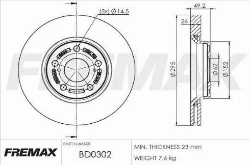 FREMAX BD-0302 - Bremžu diski interparts.lv