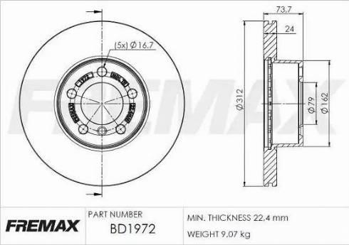 FREMAX BD-1972 - Bremžu diski interparts.lv