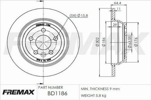 FREMAX BD-1186 - Bremžu diski interparts.lv