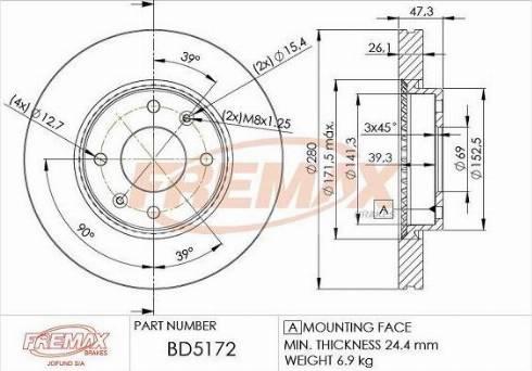 FREMAX BD-3964 - Bremžu diski interparts.lv