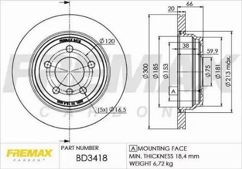 FREMAX BD-3418 - Bremžu diski interparts.lv