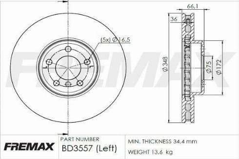 FREMAX BD-3557 - Bremžu diski interparts.lv