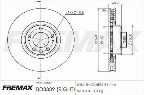 FREMAX BD-3339 - Bremžu diski interparts.lv
