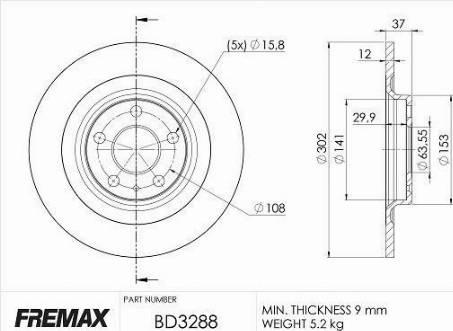FREMAX BD-3288 - Bremžu diski interparts.lv