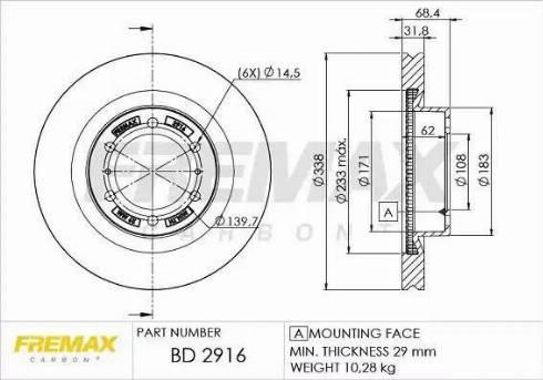FREMAX BD-2916 - Bremžu diski interparts.lv