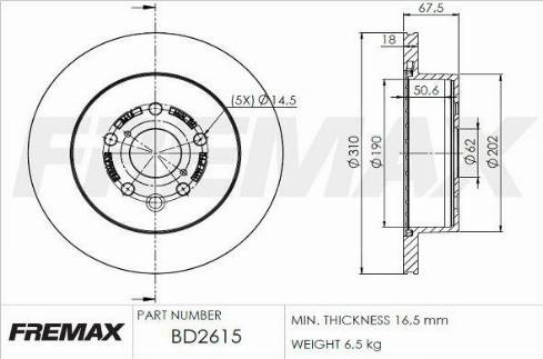 FREMAX BD-2615 - Bremžu diski interparts.lv