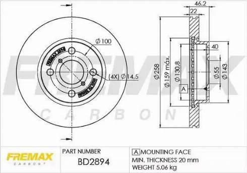 FREMAX BD-2894 - Bremžu diski interparts.lv