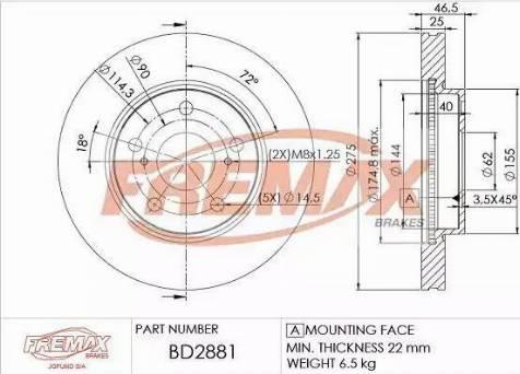 FREMAX BD-2881 - Bremžu diski interparts.lv