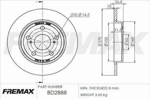 FREMAX BD-2888 - Bremžu diski interparts.lv