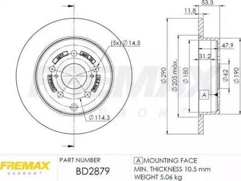 FREMAX BD-2879 - Bremžu diski interparts.lv