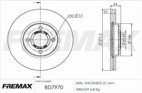 FREMAX BD-7970 - Bremžu diski interparts.lv
